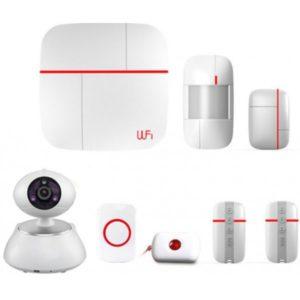 Беспроводная охранная система - комплект из камеры, извещателей, коммутатора и датчиков